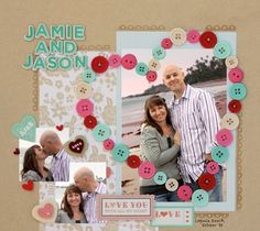 Button Heart Scrapbook, 15 Romantic Scrapbook Ideas for Boyfriend, http://hative.com/romantic-scrapbook-ideas-for-boyfriend/,