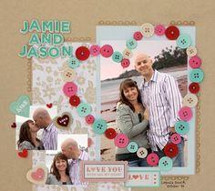 Button Heart Scrapbook, 15 Romantic Scrapbook Ideas for Boyfriend, http://hative.com/romantic-scrapbook-ideas-for-boyfriend/,