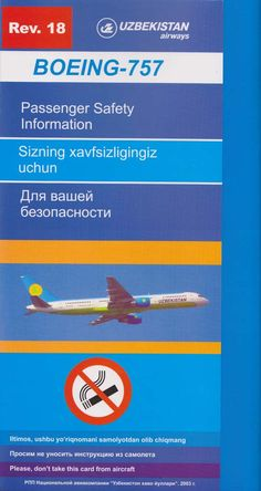 Safety Card Uzbekistan Airways Boeing B757-200 (18)