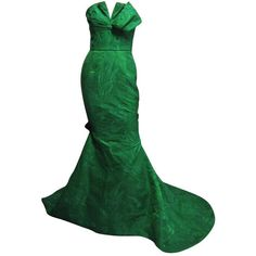 Pre-owned 2000s OSCAR DE LA RENTA Floral Gown with Bow Detailing ($2,450) ❤ liked on Polyvore featuring dresses, gowns, green, long dress, evening dresses, green corset dress, long fitted dresses, green dress, floral evening gown and long floral dresses