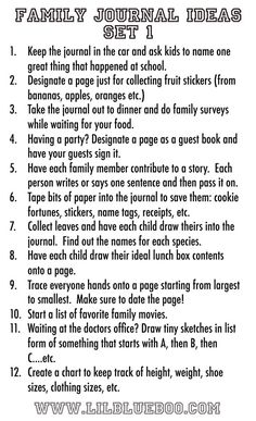 """family-journaling - this would be fun and could be incorporated into a """"Year-in-review"""" book."""