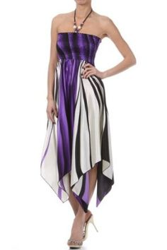 Swirl Design Satin Feel Beaded Halter Smocked Bodice Handkerchief Hem Dress (2 Colors) $29