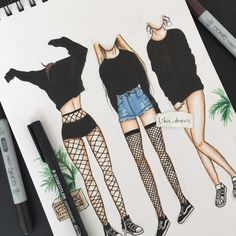 Unique and Creative Grunge Outfits Colored Pencils Ink Klasse - . - Unique and Creative Grunge Outfits Colored Pencils Ink Class – Fashion Design Sketchbook, Fashion Design Drawings, Fashion Sketches, Fashion Drawing Dresses, Fashion Illustration Dresses, Drawing Fashion, Fashion Illustration Tutorial, Fashion Painting, Fashion Illustrations