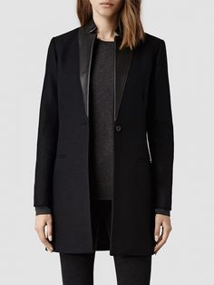 AllSaints Lorie Coat in black with leather collar.
