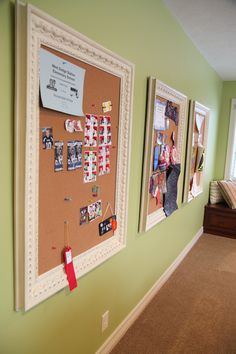 """Each child gets their own """"brag board"""" in the playroom. #playroom #organization---LOVE this idea!!! Could also keep each individual child's schedule and shopping list on there on a chalkboard or marker board too. (like shoes, diapers, doctor appoitments, etc)"""