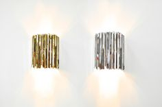 FACET Wall lights in brass and stainless steel, by Tom Kirk for innermost