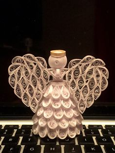 Quilled Angel Ornament by AlittleHaninHandmade on Etsy
