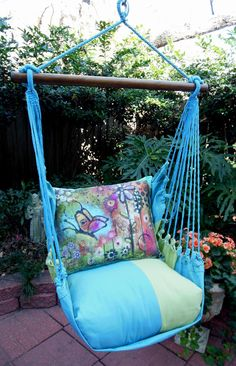 Indoor/Outdoor Hammock Swings. Great for the porch, kids room, dorm, etc.  SOOOO comfy! Many patterns to choose from at www.PinkAlleyBoutique.com
