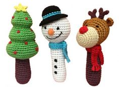 Christmas tree, snowman and rudolf the red nose reindeer rattles are lovingly hand-crocheted using soft bamboo yarn.
