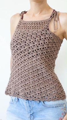 Crochet Tank Tops, Crochet Summer Tops, Crochet Shirt, Crochet Cardigan, Crochet Summer Dresses, Débardeurs Au Crochet, Gilet Crochet, Mode Crochet, Diy Crochet Top
