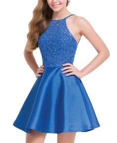 Short Evening Dresses Homecoming Dresses by ALYCE skater mikado dress with laced bodice, sleeveless halter and strappy open back. Lace Homecoming Dresses, Hoco Dresses, Dance Dresses, Ball Dresses, Wedding Dresses, Homecoming Dance, 8th Grade Formal Dresses, 8th Grade Graduation Dresses, Spring Formal Dresses