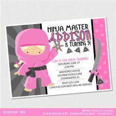 Ninja Girl Birthday Invitation or Thank You by PinkPickleParties, $10.00