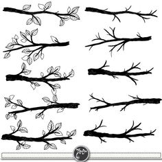 Check out Branch Silhouettes with Leave by YenzArtHaut on Creative Market Wedding Silhouette, Silhouette Clip Art, Tree Silhouette, Branch Drawing, Leaf Drawing, Fall Leaves Tattoo, Tree Branch Tattoo, Tree Drawings Pencil, Tree Sketches