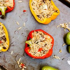 Mediterranean Stuffed Bell Peppers (contains dairy, contains gluten) - Vegetarian Gastronomy