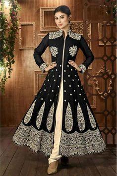 Bollywood Mouni Roy Georgette Party Wear Anarkali Suit In Black Colour