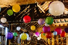 Secret Barn Sussex Wedding with a Rainbow DIY Colourful Theme Hanging Lanterns Wedding, Candle Wedding Centerpieces, Barn Wedding Decorations, Wedding Paper Lanterns, Festival Decorations, Wedding Arch Rustic, Barn Wedding Venue, Wedding Vows, Barn Photography