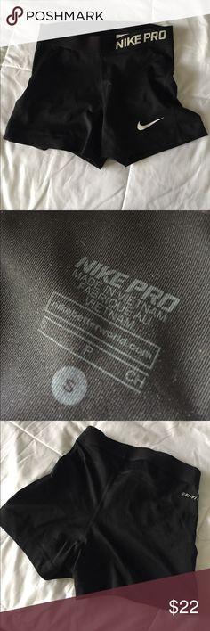 Nike black pro shorts 🔥 Small Nike pro shorts. Light wear on the logo and back band. ✨Great material. Nike Shorts