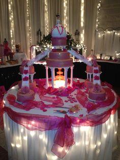 pink 15 anos cake