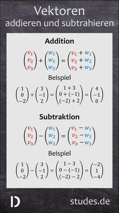 Vektoren addieren und subtrahieren: Vektoren werden addiert, indem die einzelnen Komponenten addiert werden. Genauso werden bei der Subtraktion die einzelnen Komponenten subtrahiert | studes.de  #Vektoren #Addition #Subtraktion #addieren #subtrahieren #Vektorrechnung #analytische #Geometrie #Mathe #Oberstufe #Abitur #Abi #Rechnen #Lernen #Schule #Bildung