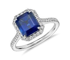 Emerald Cut Sapphire and Diamond Halo Ring in 18k White Gold | #Fashion #Jewelry #Style