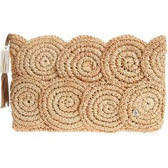FLORA BELLA Rio Raffia Clutch ($99) ❤ liked on Polyvore featuring bags, handbags, clutches, seagreen, print purse, pattern purse, raffia handbag, pattern handbag and zipper purse