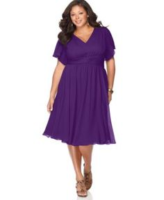 Chin plus size dress flutter sleeve empire waist plus size dresses