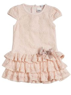 iDo Girls pale pink lace frilled dress