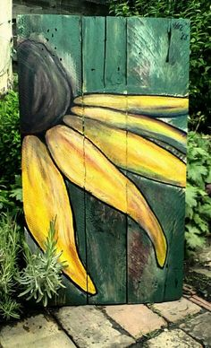 Pallet painting - Rudbekia by little Hols painted on reclaimed wood outdoorwood Pallet painting, Fen Pallet Painting, Pallet Art, Painting On Wood, Painting Flowers, Fence Painting, Garden Painting, Painting Canvas, Wood Fence Design, Fence Art
