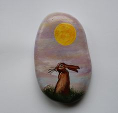 """Litha"" Summer Solstice Hare & Sunset . Hand Painted Stone by sanctuary-witchcrafts"