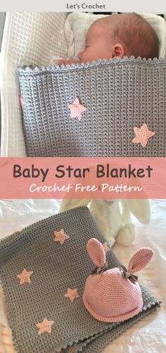 Baby Star Blanket Crochet Free Pattern #freecrochetpatterns #blanket