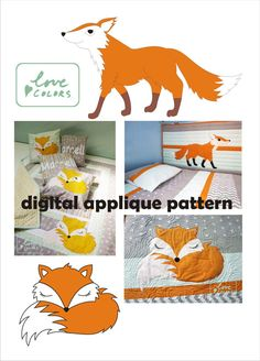 baby foxes appliqué pattern, PDF digital template, quilting appliqué template, animal downloadable pattern, sleeping fox