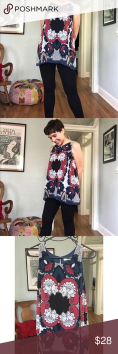 """Max Studio tunic NWT. Great vintage-meets-modern print in black/navy/red/white/tab. Lined in matching navy fabric, but still lightweight. Button keyhole closure. Perfect to pair with black leggings. MSRP $98. Sizing is very generous because of style: could fit a range of sizes, depending on the look you're going for. Bust 18"""" from underarm to underarm. Length approx 27"""", measured from shoulder seam. Max Studio Tops"""