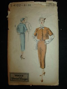 It is a pattern for a misses' Suit jacket with wiggle skirt. Short, slightly flared jacket buttons below a shaped rolled detachable collar and tie. Vogue Dress Patterns, Vogue Sewing Patterns, Vintage Sewing Patterns, Blouse And Skirt, Skirt Pants, Vintage Vogue, Jacket Buttons, Cool Suits, Suit Jacket