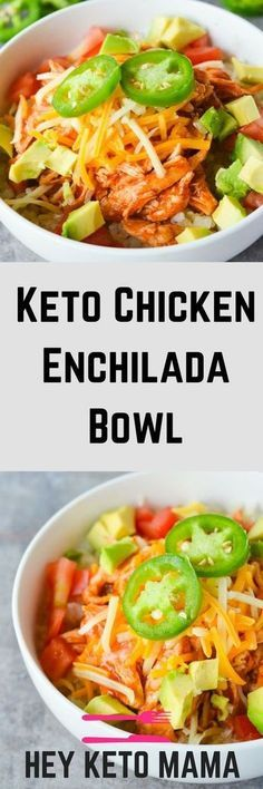 This Keto Chicken Enchilada Bowl is a low carb twist on a Mexican favorite! - This Keto Chicken Enchilada Bowl is a low carb twist on a Mexican favorite! It's SO easy to make, totally filling and ridiculously yummy! Healthy Recipes, Ketogenic Recipes, Mexican Food Recipes, Low Carb Recipes, Diet Recipes, Cooking Recipes, Lunch Recipes, Recipies, Cooking Food