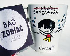Funny Mug / Cancer Zodiac Mug / Rude / Black and White by 39Cups, $14.95