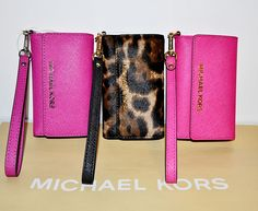 Michael Kors Saffiano Leather Pink or Leopard Wristlet Iphone 5 ID Card Case NWT #MichaelKors #WalletWristletiPhoneCase