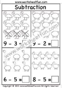 Beginner Subtraction – 4 Kindergarten Picture Subtraction Worksheets