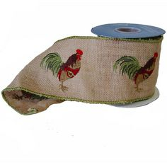 "Burlap Embroidered Ribbon Size: 4"" in width; 5 yards in length Color: Natural, Dark Green, Brown, Dark Red Wire Edge 100% Jute Embroidered rooster reapeat every 5.5"" Edges overcast"