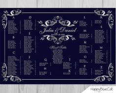 Wedding Seating Chart  RUSH SERVICE  Navy Ornament by HappyBlueCat