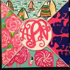 Order a hand-paint Lilly Pulitzer custom collage canvas embellished with your personalized monogram and pearls.  Also visit KraftyKellzster.blogspot.com for DIY tutorials! :)