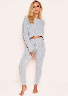 9d1280a91c2fa2 Rene Grey Cable Knit Cropped Loungewear Set