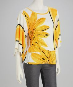 Take a look at this Yellow Sunflower Drop-Waist Top - Women by GLAM on #zulily today!