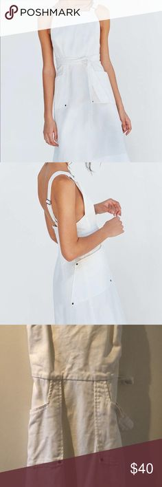 Silence + Noise apron overall dress White denim overall style super cute apron dress. Can we worn on its own or with a top underneath. silence + noise Dresses Midi