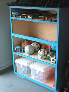 Produce a sports center of your very own.   49 Clever Storage Solutions For Living With Kids