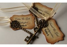 Vintag Distressed Wedding Escort Cards, Skeleton Key Place Cards, Romantic Name Cards x 10 BLANK TAGS - TheWeddingMile.com