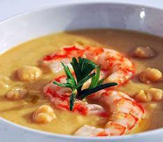 Assaggia la delicatissima vellutata di ceci e gamberi. La bontà dei legumi incontra i crostacei in questa zuppa molto gustosa! Calorie totali: 1115 Kcal / Calorie a porzione: 371 Kcal