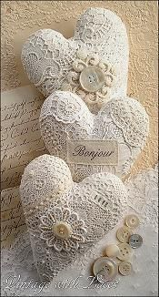 Shabby Chic furniture and style of decor displays more 'run down' or vintage items, or aged furniture. Shabby Chic is the perfect style balanced inbetween vintage and luxury, or '… Manualidades Shabby Chic, Decoration Shabby, Lace Decor, Sewing Crafts, Diy Crafts, Decor Crafts, Fabric Hearts, Shabby Chic Crafts, Lace Heart