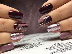 We deeply hope these 74 Sexy Short Nails Design With Dark Color For Passion Summer (square, Round, Oval Nails) be your favorite choice. Dark Color Nails, Shiny Nails, Nail Colors, Fall Acrylic Nails, Acrylic Nail Designs, Nail Art Designs, Classy Nail Designs, Short Nail Designs, Short Gel Nails