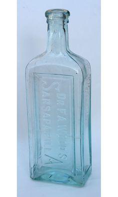 Antique Aqua Glass Bottle Dr F A Woods by albrechtsantiques