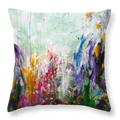 """14"""" x 14"""" Colorful Throw Pillow featuring the painting Tropical Journey by Kume Bryant"""